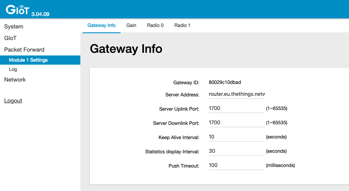 Gateway Settings