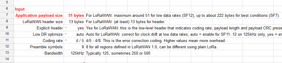 Spreadsheet for LoRa airtime calculation - The Things Network