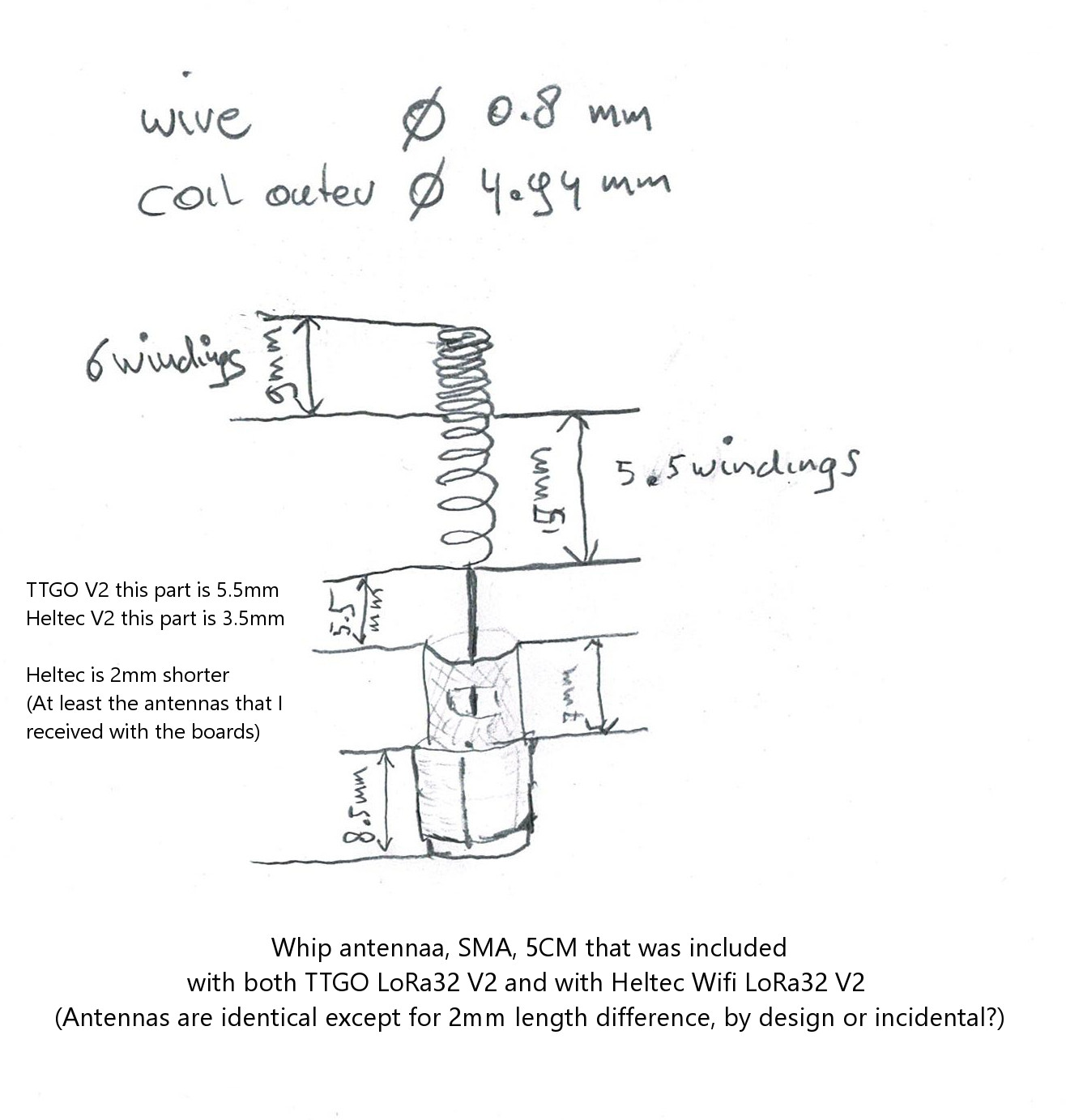 Whip antenna SMA 5cm included with TTGO V2 868MHz - drawing