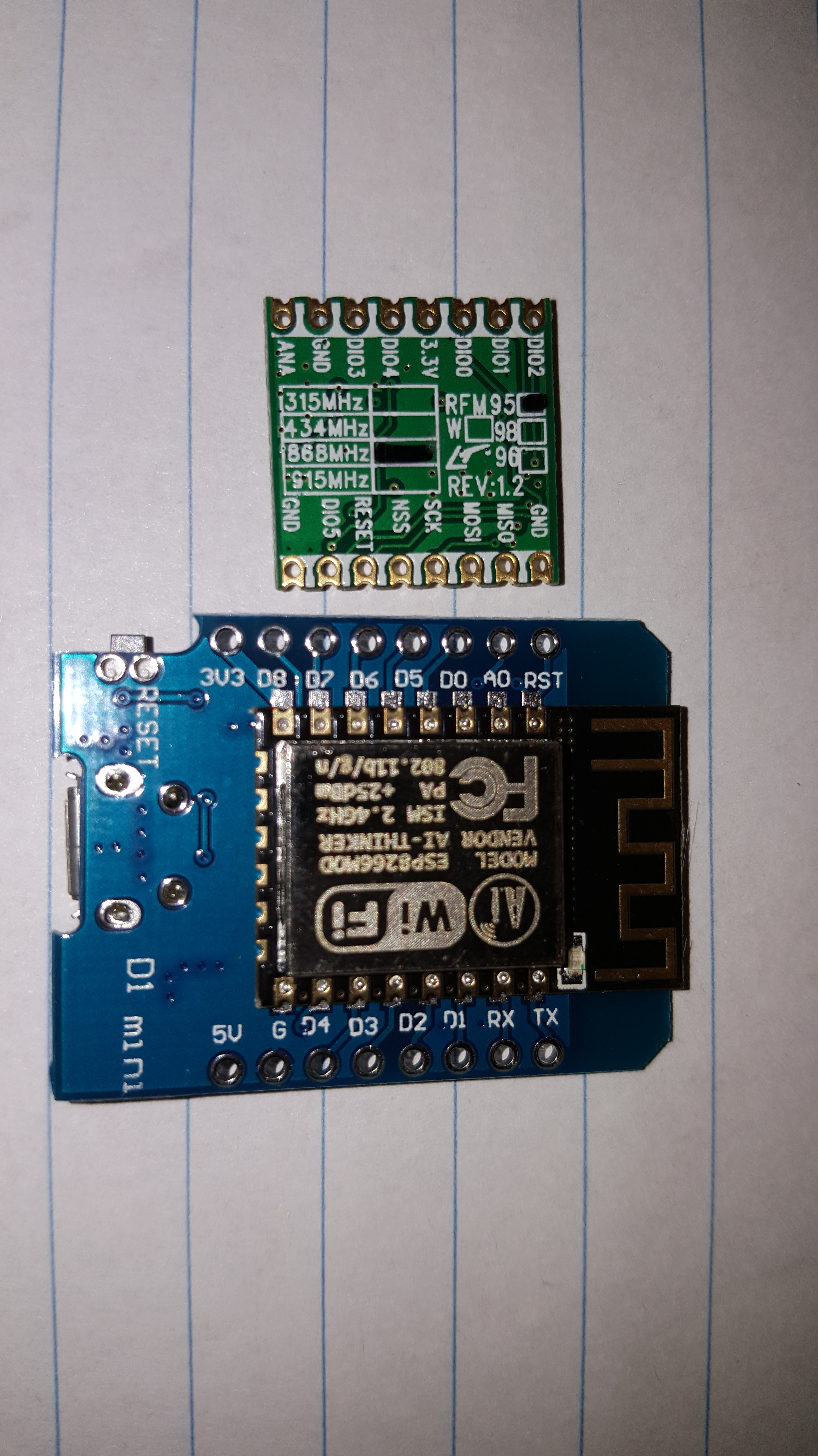 How should I wire an RFM95 to an ESP8266/WeMos D1 mini? - End