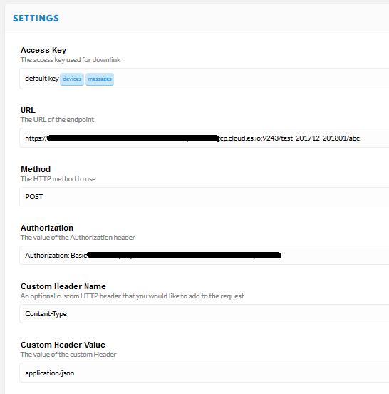 Configuring ttn http integration forward to elastic cloud
