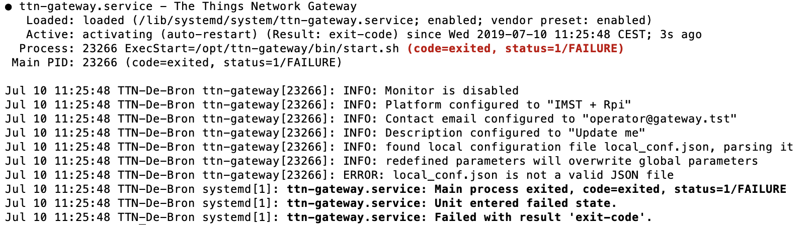 iC880A ERROR: local_conf json is not a valid JSON file